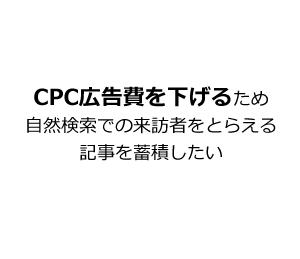 CPC広告費を下げるため自然検索での来訪者をとらえる記事を蓄積したい